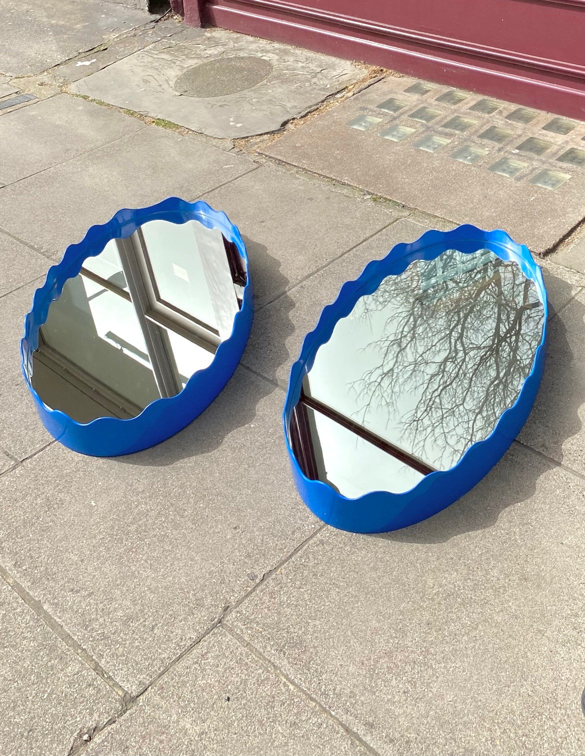 Hand Lacquered Scalloped Mirror | Oval 90 cm