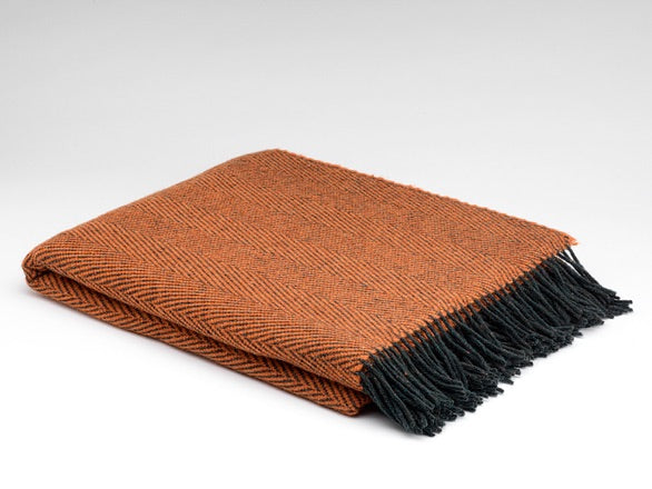Pumpkin Herringbone Wool Blanket