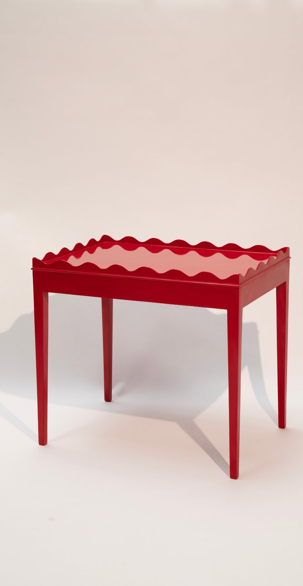 Vintage Hand-Lacquered Ruby Red Side Table