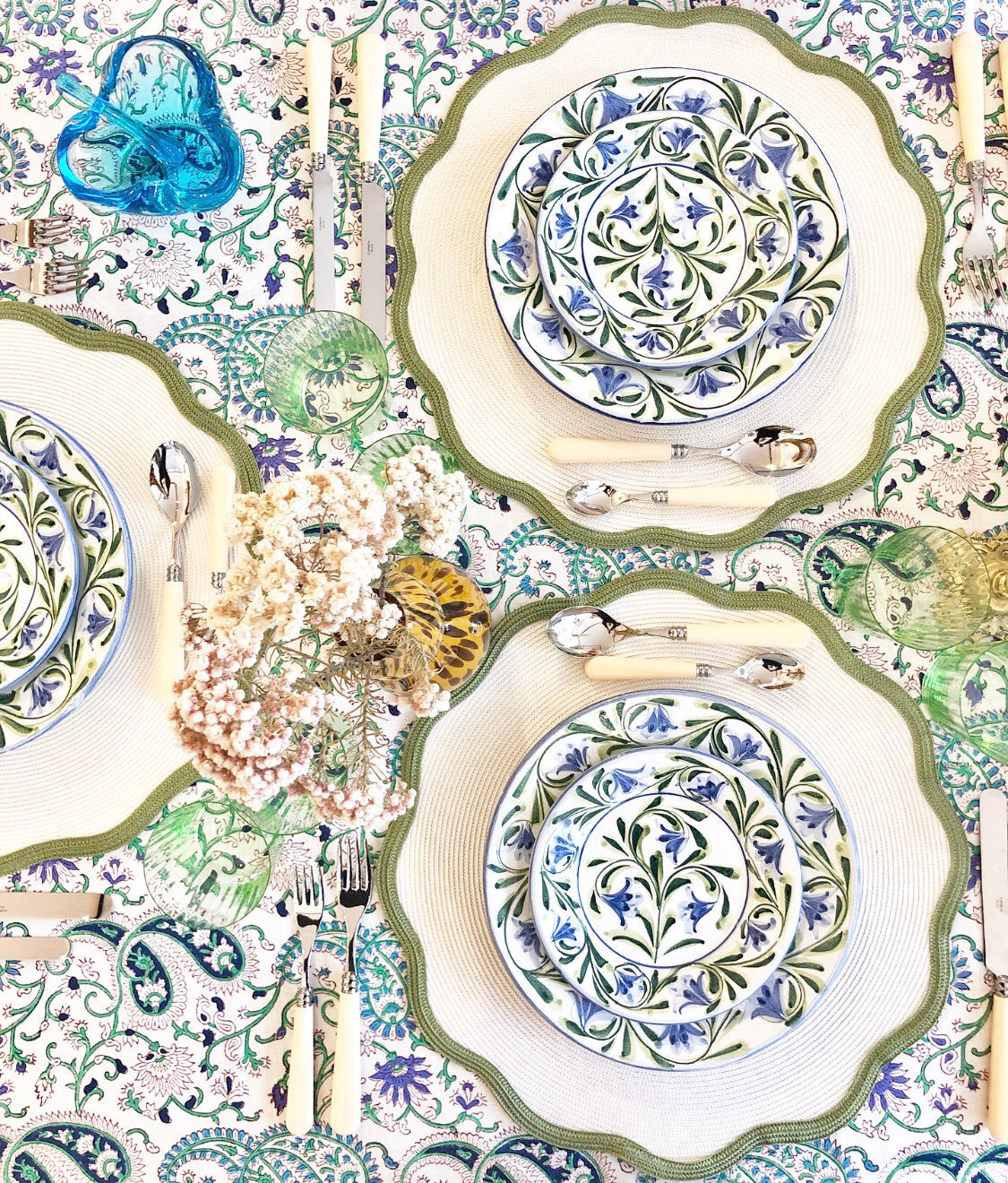 Green and Blue Floral Hand Painted Plate