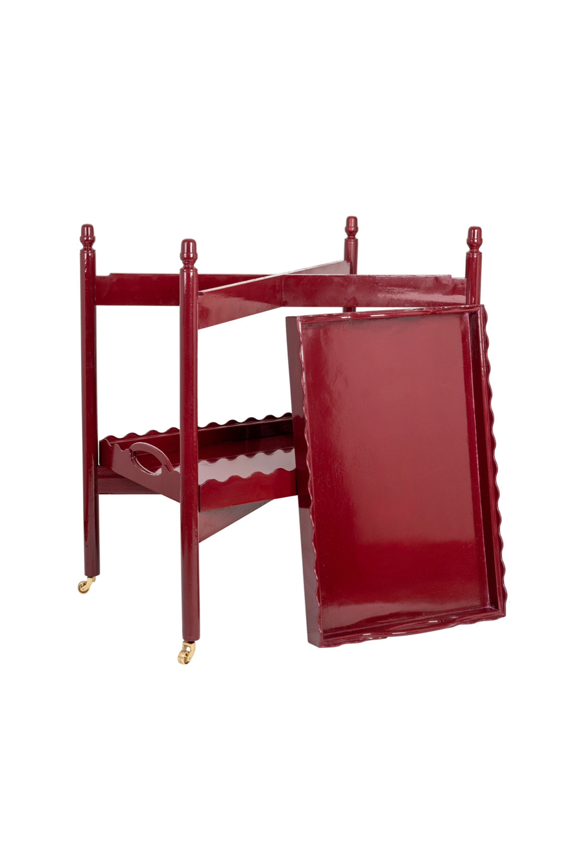 Vintage Burgundy Hand-Lacquered Scallop Edge Trolley (removable trays)