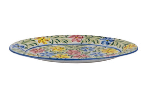 Multi-Coloured Flower Hand Painted Serving Plate