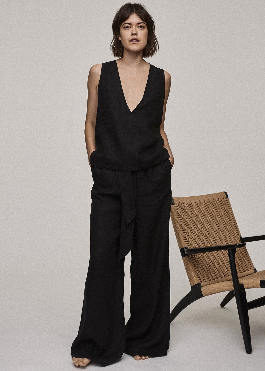 ASCENO JET BLACK WIDE LEG TROUSER