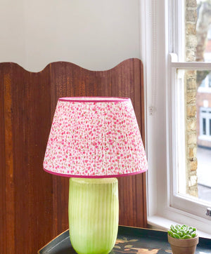 Pink Floral Handmade Silk-Lined Lampshade