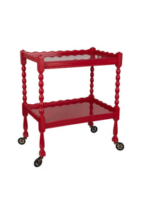 Red Hand-Lacquered Vintage Scallop Edge Tea Trolley