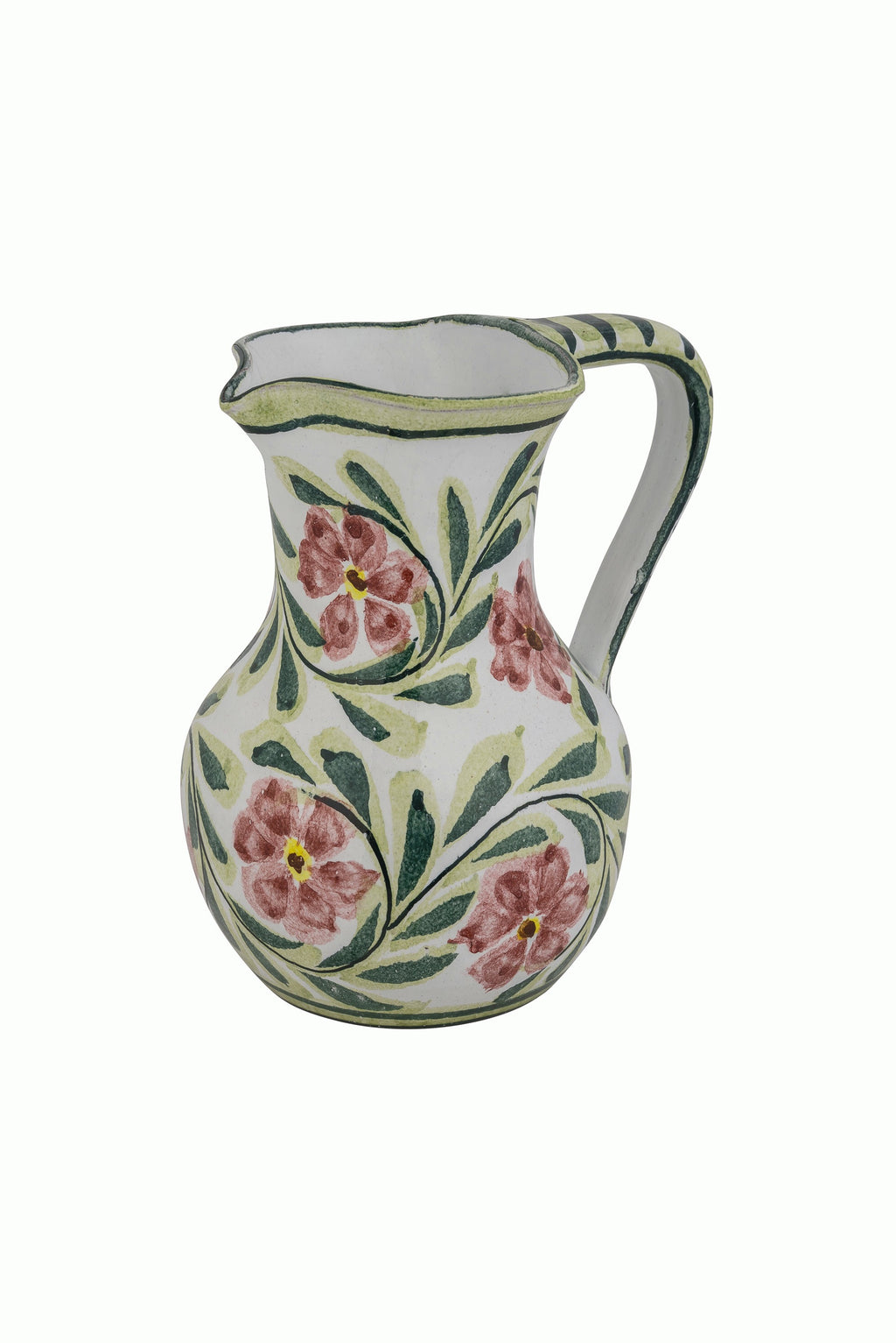 Pink Rose Bud Hand Painted Water Jug