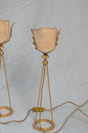 Pair of Vintage Woven and Gilded Metal Leaf Bedside Lamps