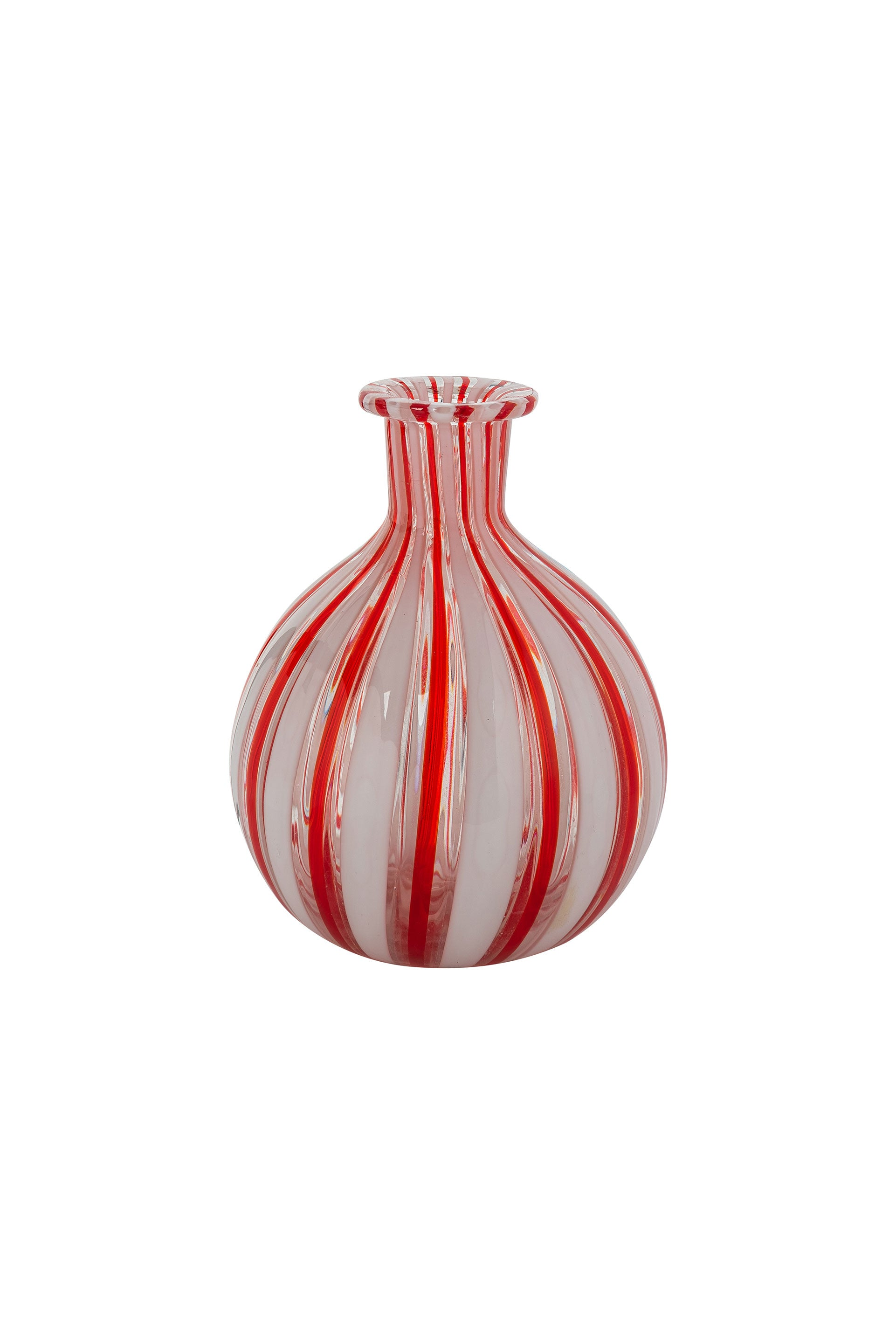 Vintage Red & White Striped Murano Bud Vase