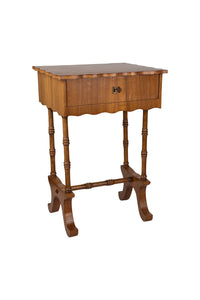 Vintage Faux Bamboo Scalloped Sewing Box / Side Table