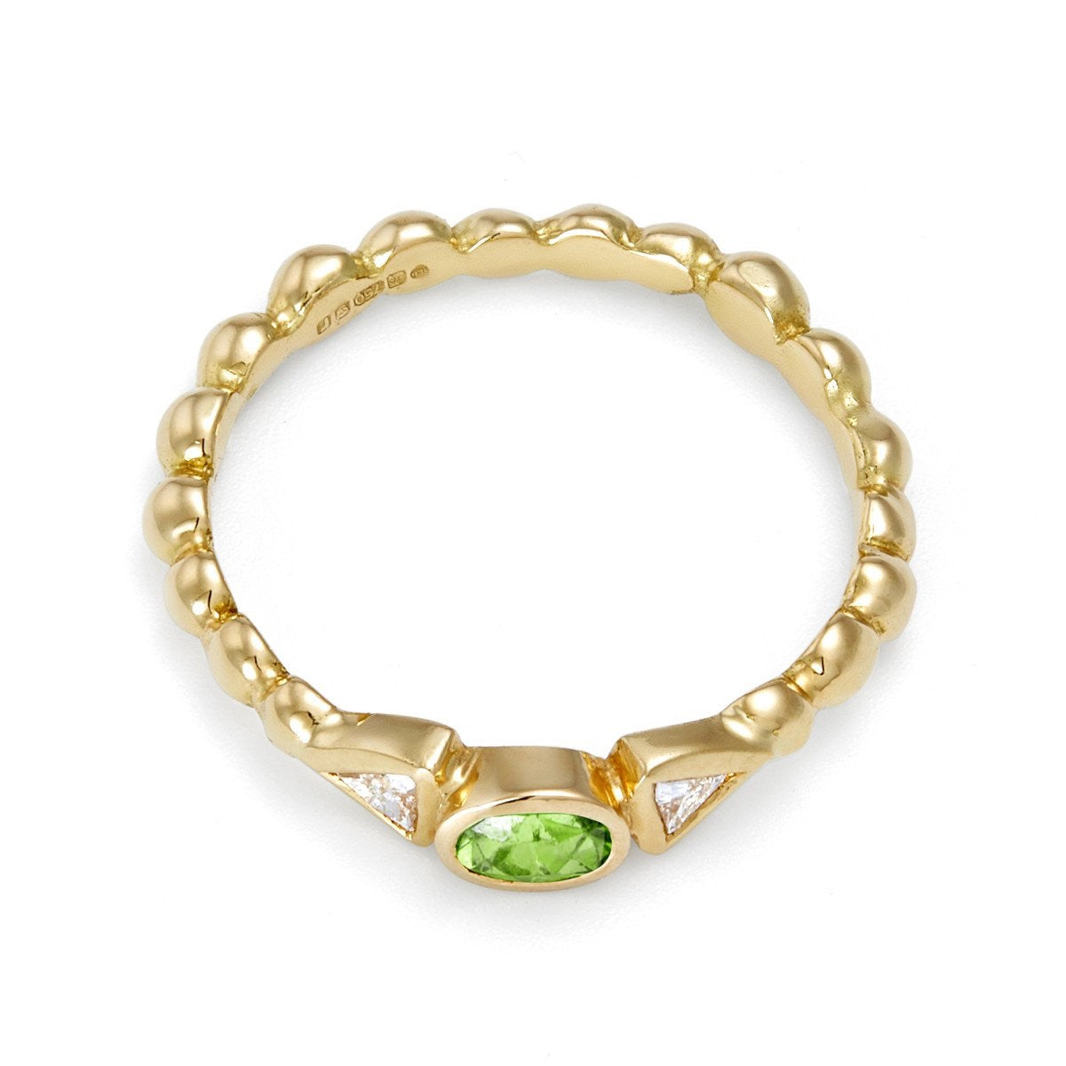 Green Garnet & Diamond Tutti Frutti Ring