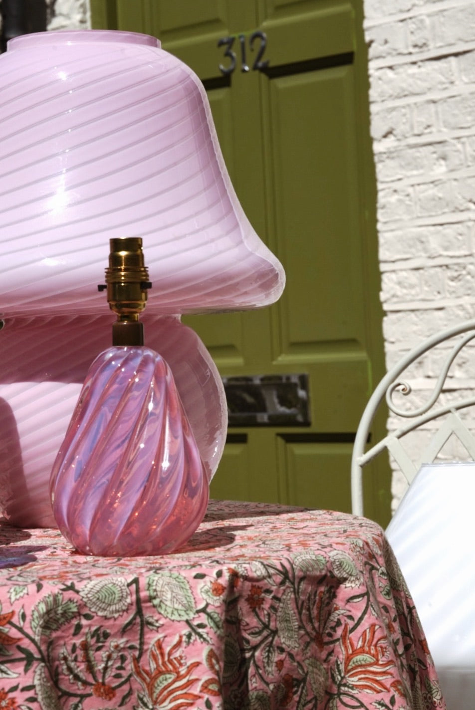 Vintage Pink Opalescent Murano Lampbase by Archimedes Seguso