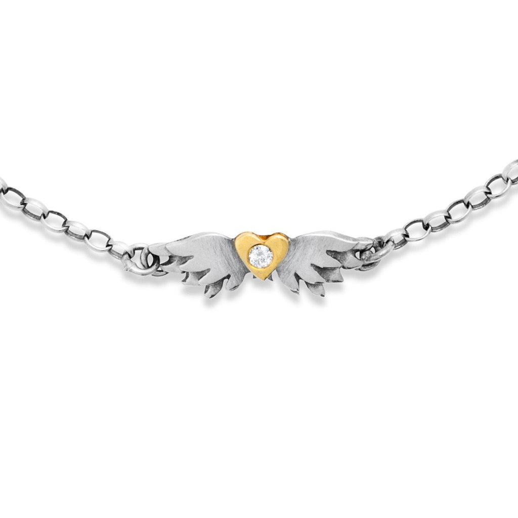 Classic Diamond Winged Heart Bracelet