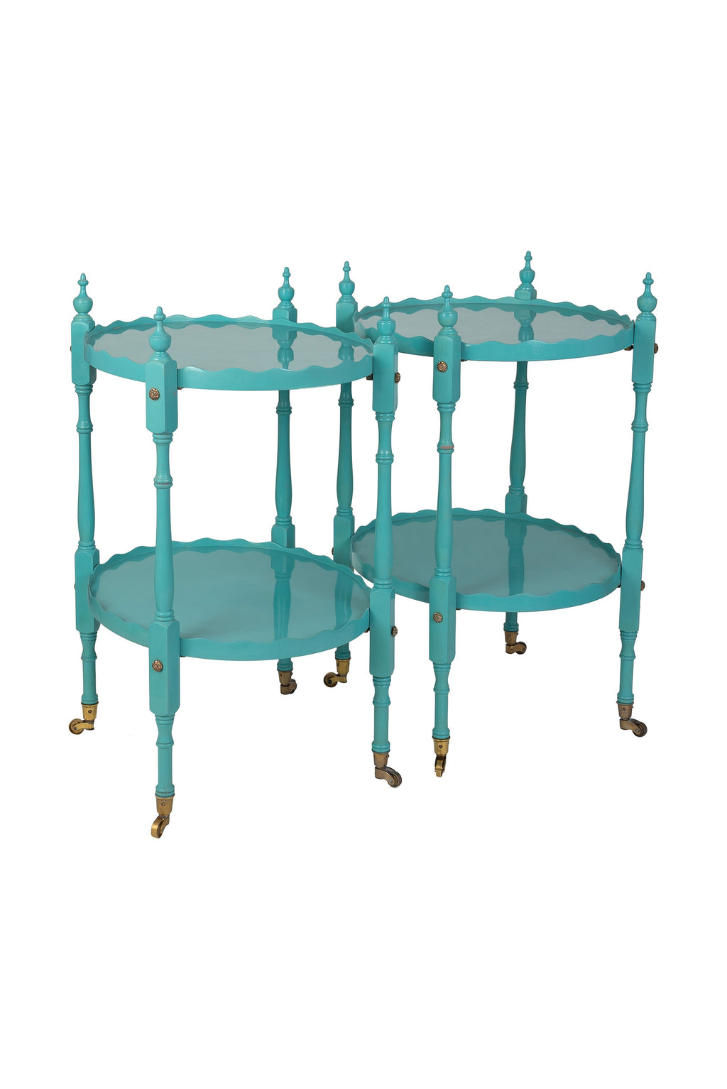 Pair of Vintage Sky Blue Lacquered Scalloped Side Tables