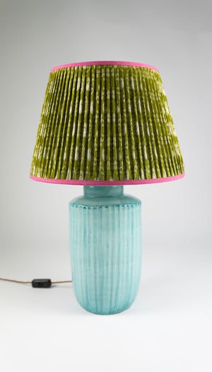 "Green & Pink Patterned Handmade 16"" Silk-Lined Lampshade"