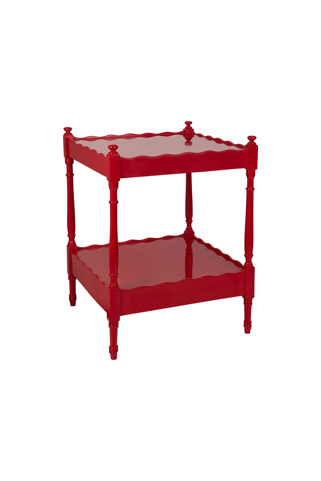 Red Hand-Lacquered Antique Scallop Edge Side Table ( Trolley / No Wheels)