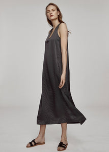 ASCENO BLACK DOT SILK LONG PANEL DRESS