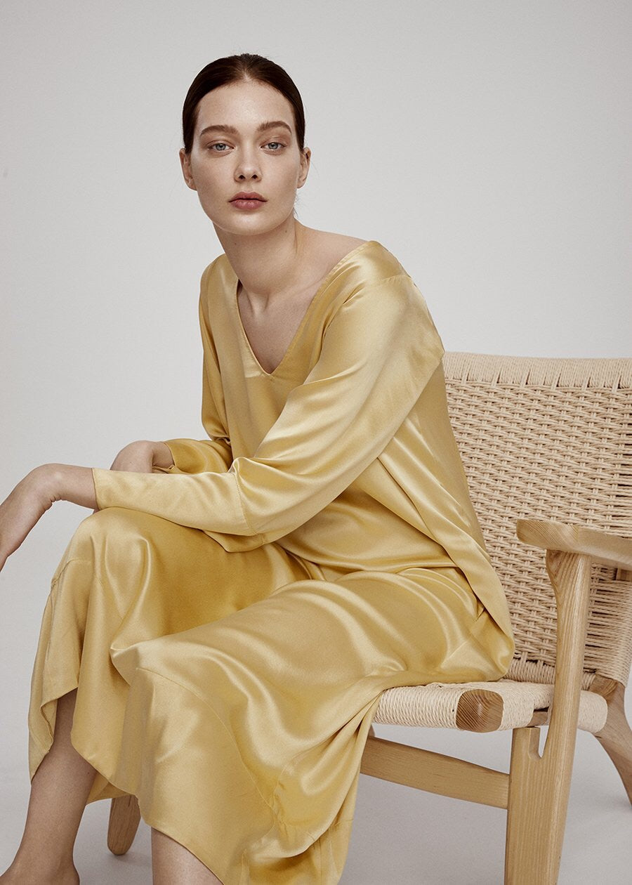 ASCENO RATTAN SILK LONG FLOW DRESS