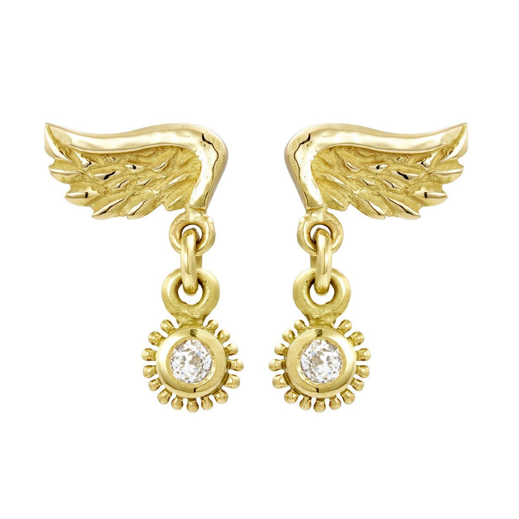 Gold Venetian Wing & Diamond Drop Earrings