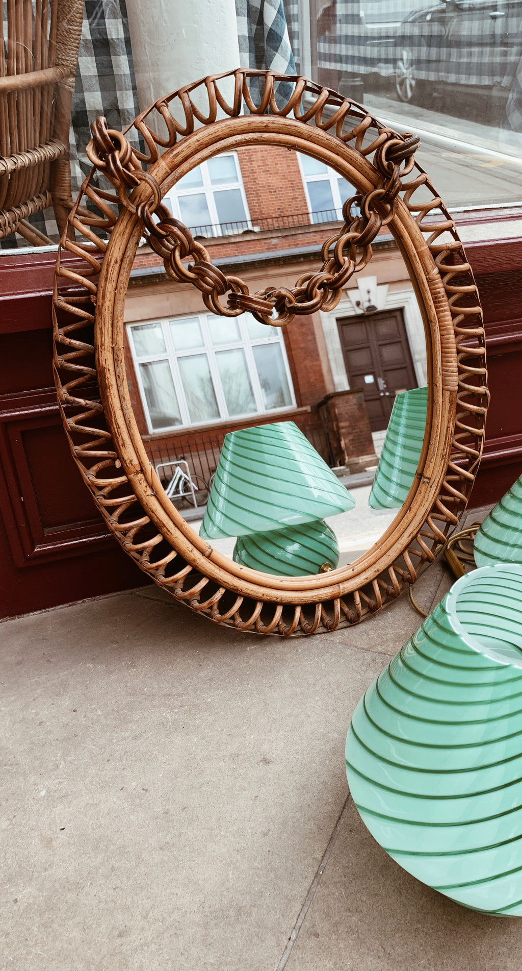 Vintage 1960s Rattan Oval Mirror with Chain
