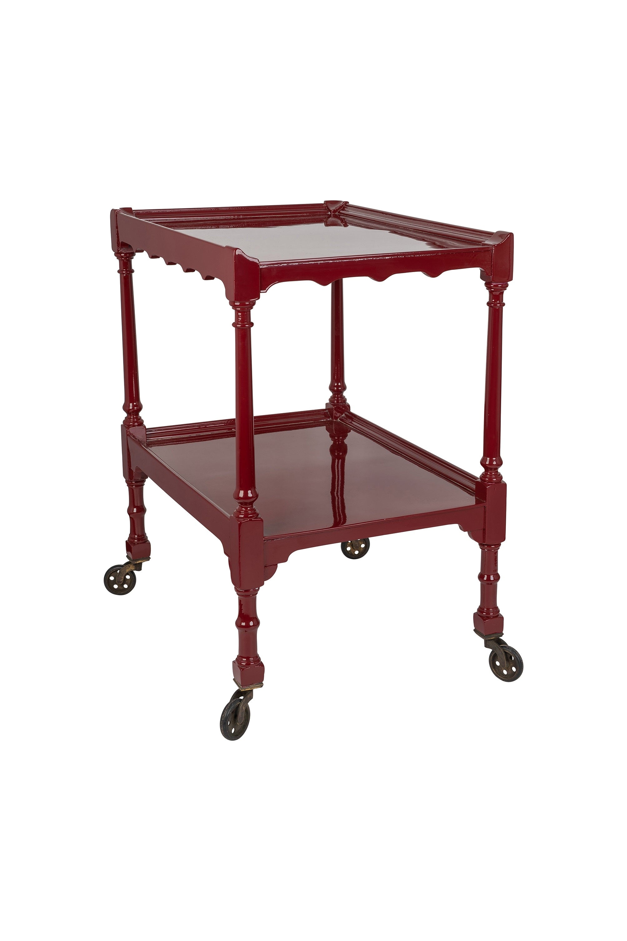 Vintage Rosewood Red Hand-Lacquered Tea Trolley