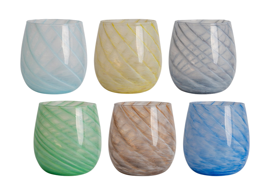 Short Candy Swirl Handblown Italian Glasses