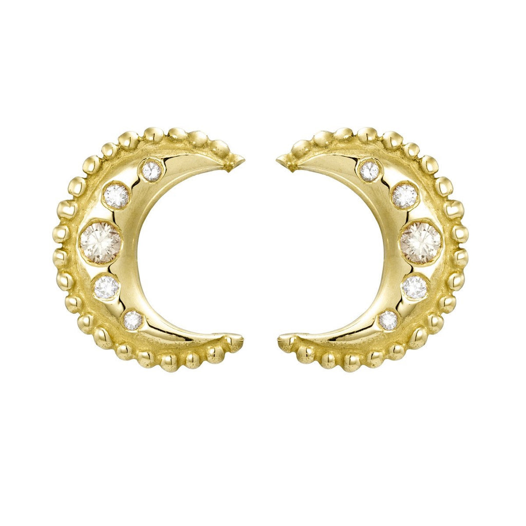 Gold & Diamond Luna Studs