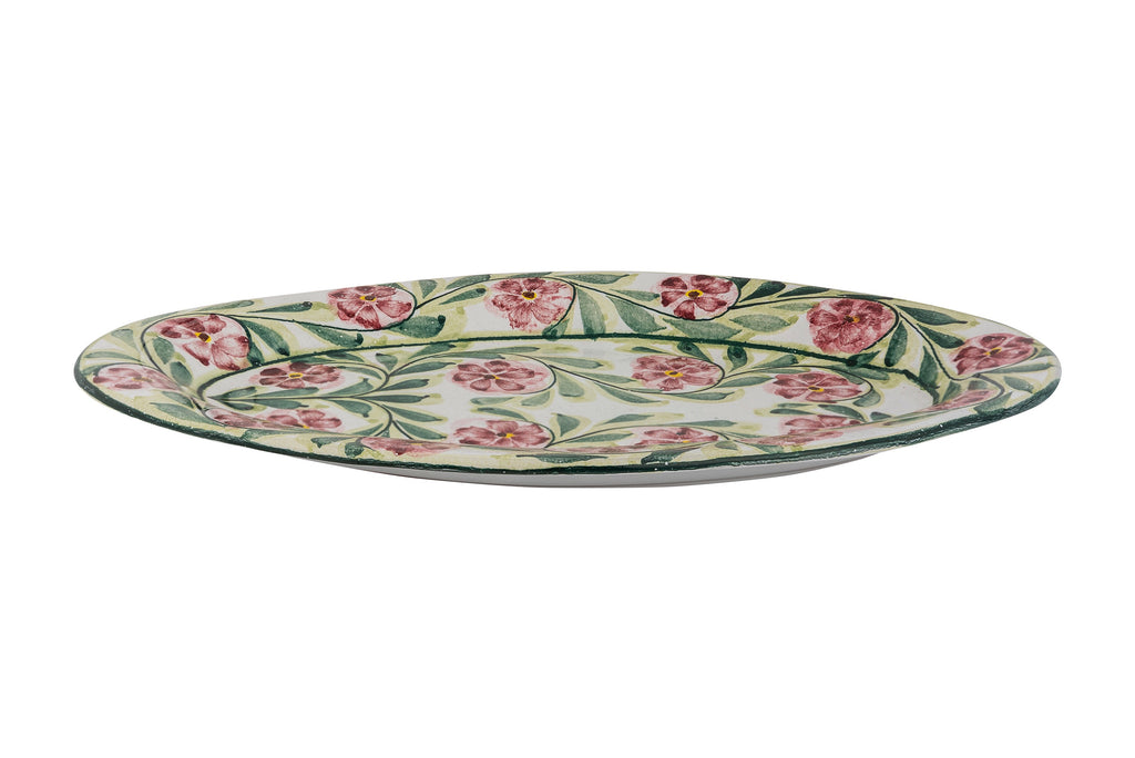 Pink Rose Bud Hand Painted Serving Platter