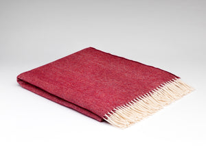 Spotted Cranberry Supersoft Merino Lambswool Blanket