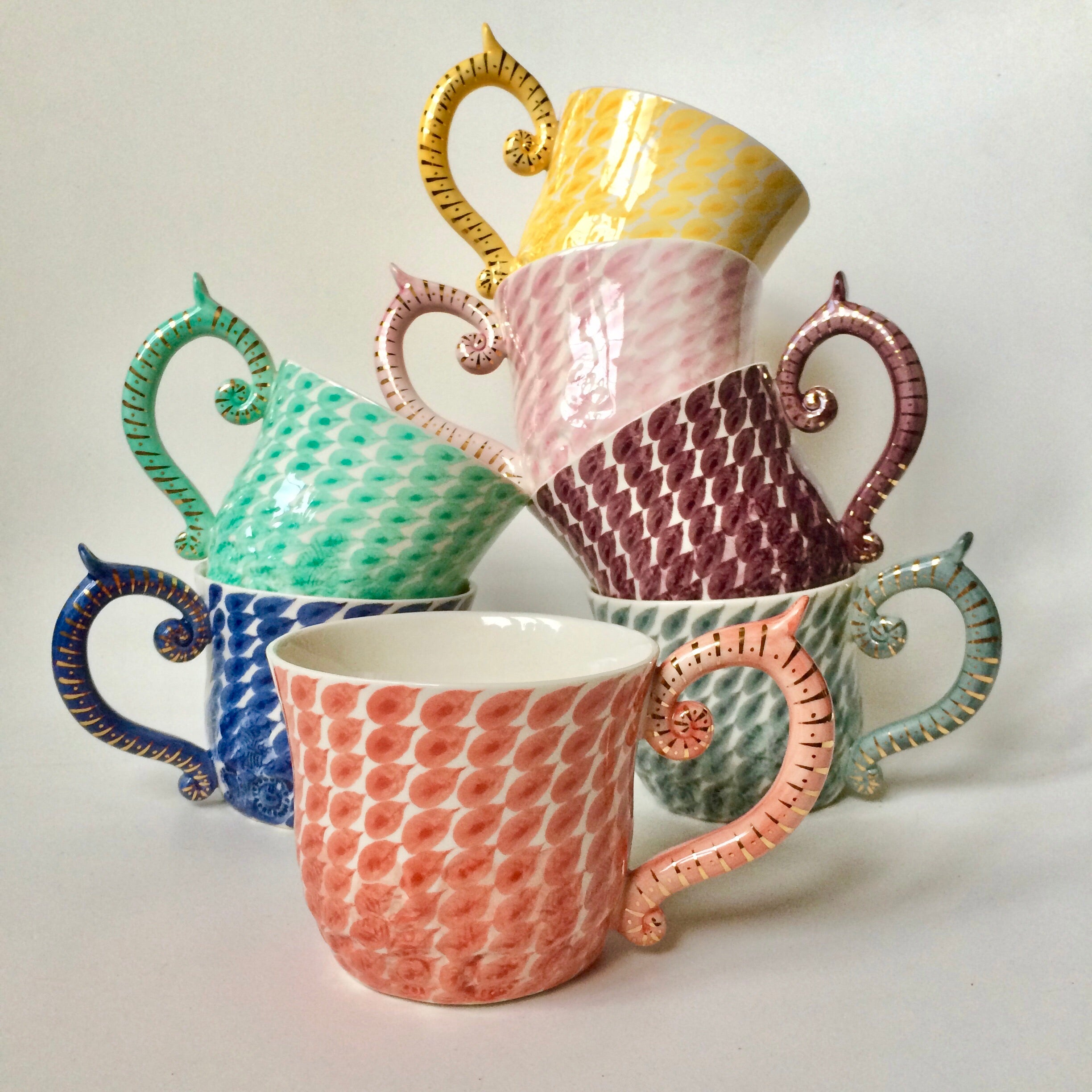 Hand-Painted Large Dash Patterned Mugs