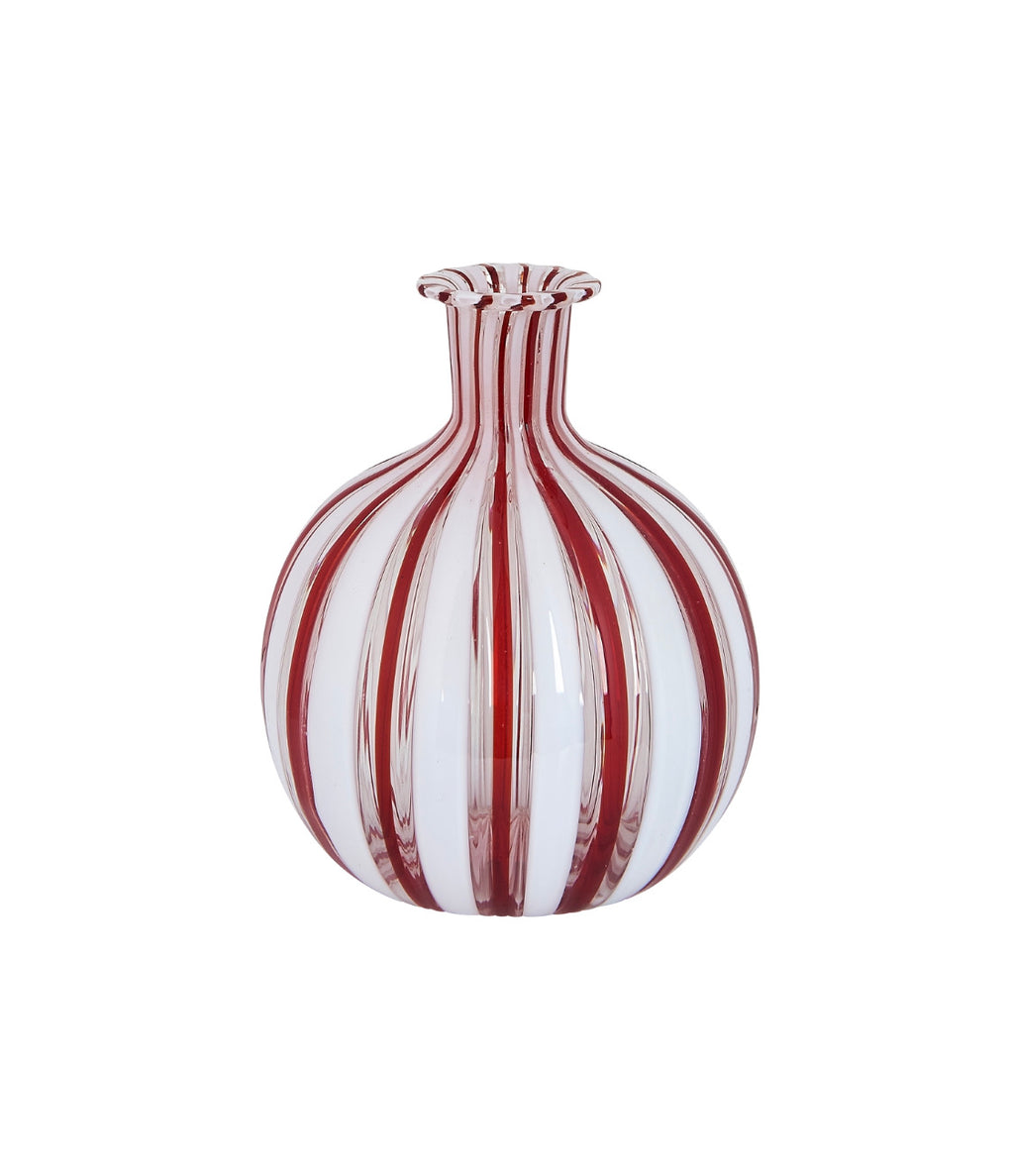 Vintage Brown and White Stripe Murano Vase