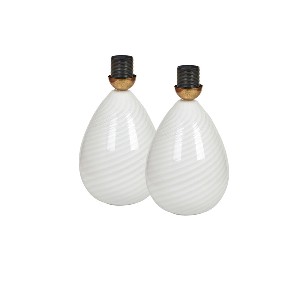 Pair of Vintage Murano Egg Bedside Lamps