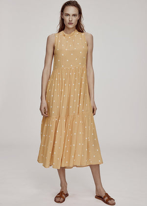YELLOW POLKA SILK CREPE LONG NECK TIE DRESS
