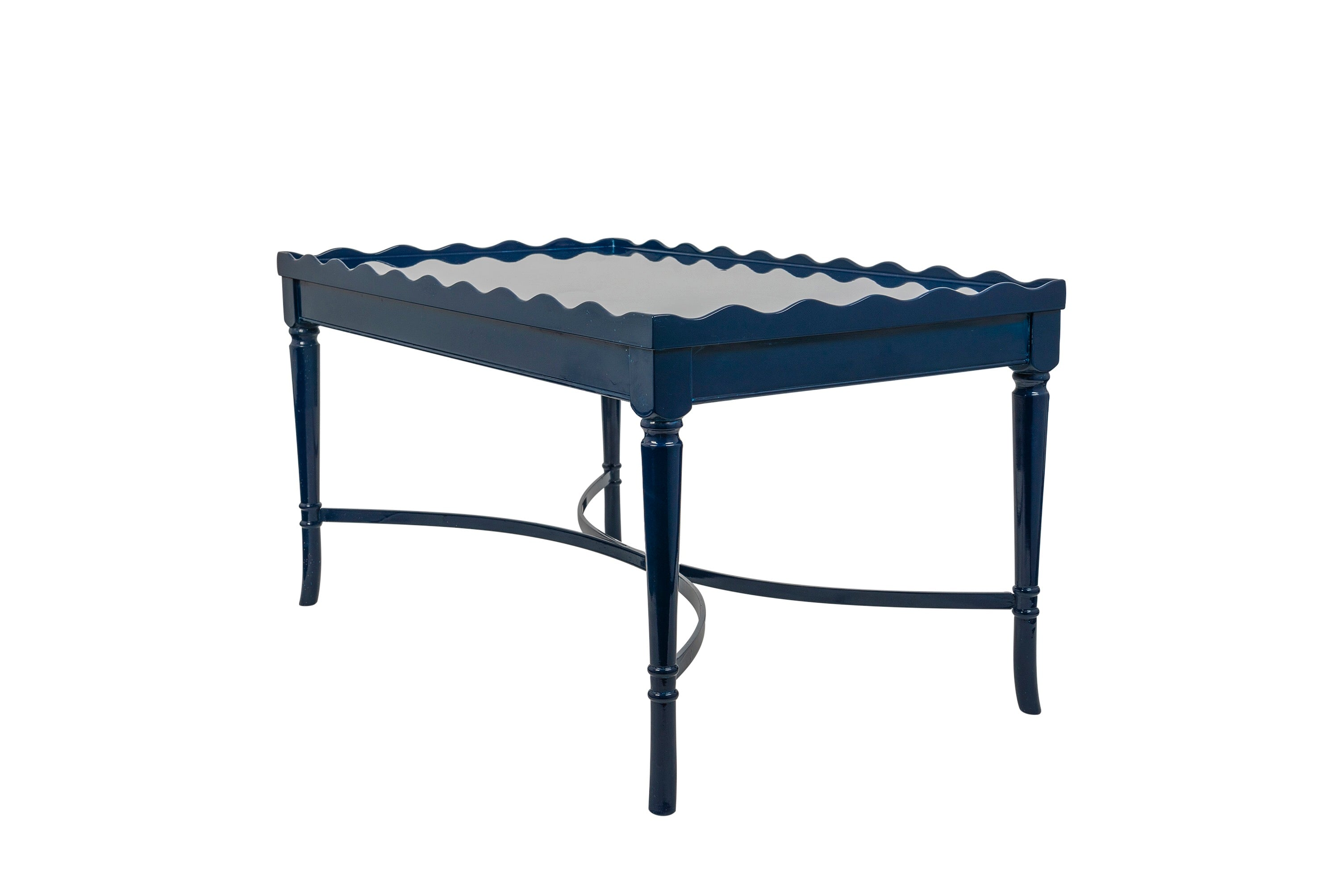 Vintage Scalloped Edge Navy Lacquered Coffee Table