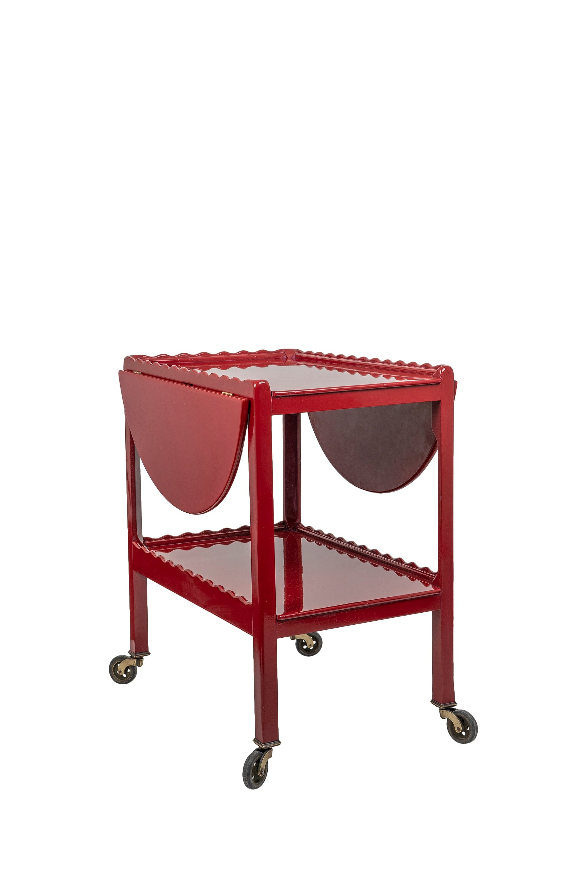 Vintage Berry Red Hand-Lacquered Two-Tiered Winged Scalloped Drinks Trolley