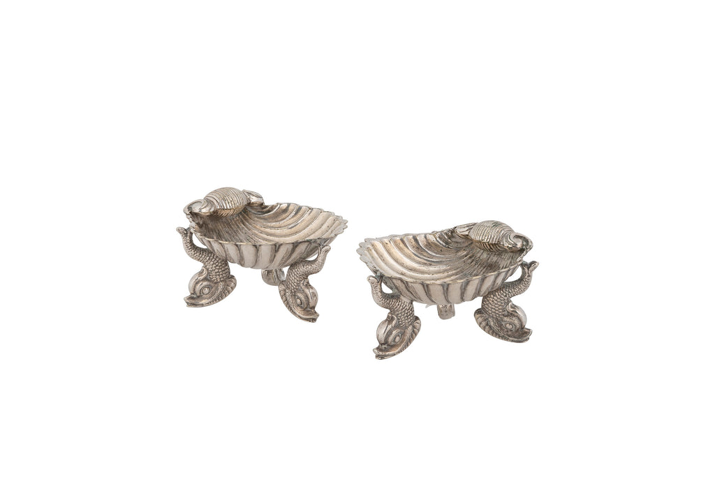 Antique Silver-plated Shell Salt and Pepper Pinch Pots