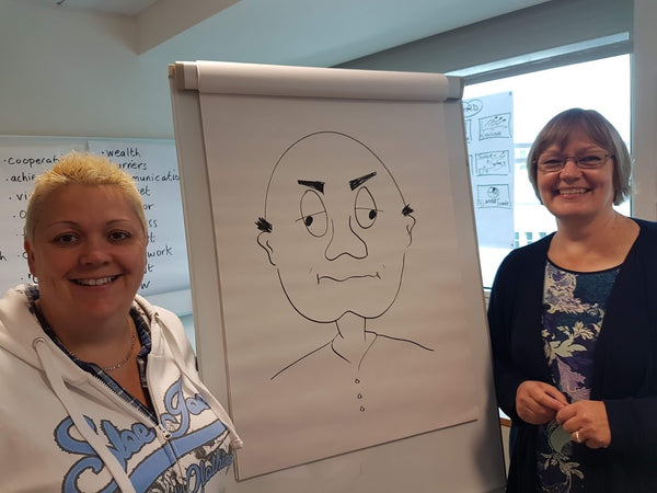 Participants learn to draw cartoon faces with varied expressions