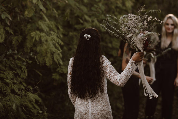 Wedding with White Lace Dress and Macrame Bouquet wraps