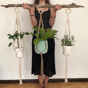 Pip Plant hangers made with natural rope, jute twine or chunky cotton rope