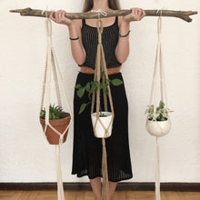 Boston Plant Hanger made with natural rope, jute twine and chunky cotton rope