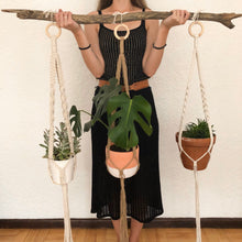 Ripple Plant Hanger made with natural rope, jute twine and chunky cotton rope