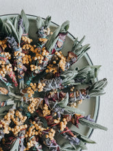 Mini floral smudge sticks with sage, lavender, rose petals and fynbos flowers.