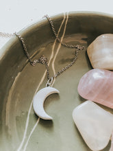 Crescent Moon pendant with mini floral smudge stick and crystals, all cleansed and charged under the Full Moon light.