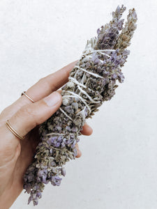 Lavender Smudge Stick with natural cotton rope