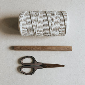 Materials needed for the macrame pattern include 3mm cotton rope, a dowel rod and sharp scissors.