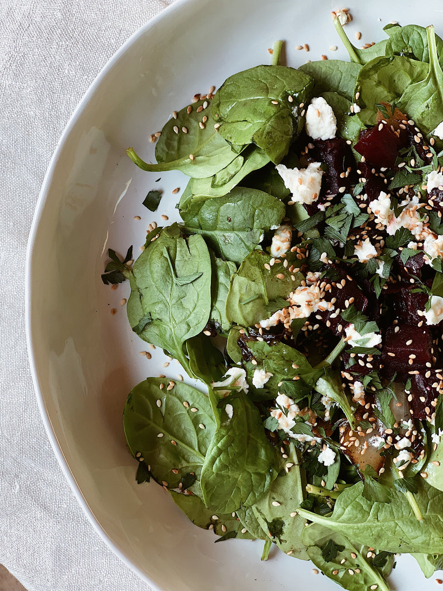 Beetroot, baby spinach and balsamic salad