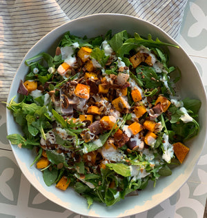 Roast pumpkin, rocket salad with yoghurt dressing