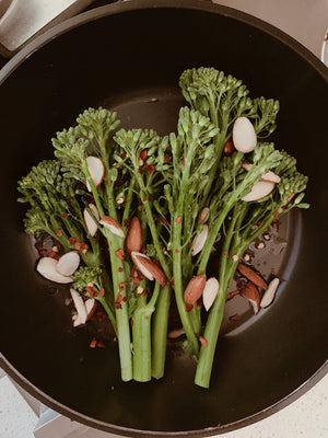 Broccolini with almonds and goat's cheese