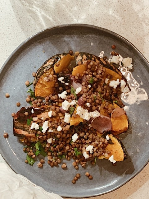 Roast pumpkin, lentils, goats cheese