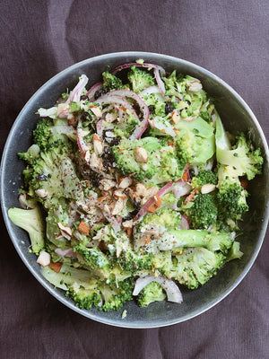Shaved broccoli and almond salad