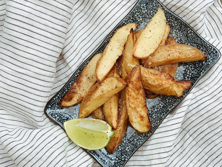 Oven baked wedges with lemon myrtle salt
